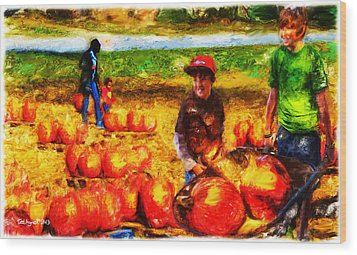 The Pumpkin Patch Wood Print by Ted Azriel