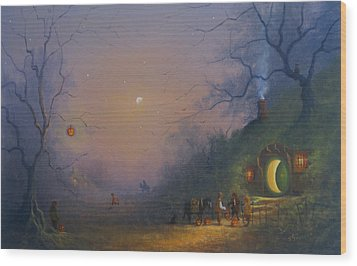 A Hobbits Halloween. The Pumpkin Seller. Wood Print by Joe Gilronan