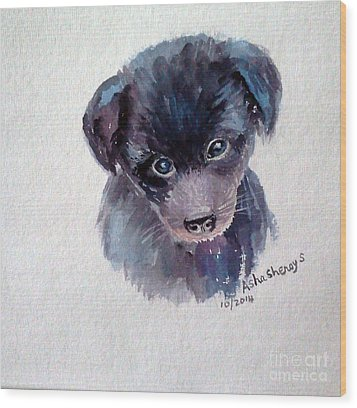 The Puppy Wood Print