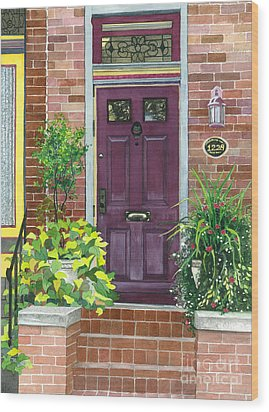 The Purple Door Wood Print by Barbara Jewell