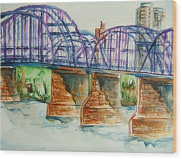 The Purple People Bridge Wood Print