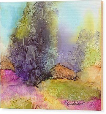 The Purple Tree Wood Print