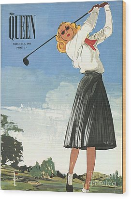 The Queen 1940s Uk Golf Womens Wood Print by The Advertising Archives