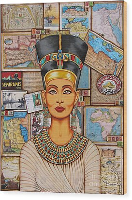 Wood Print featuring the painting The Queen Of Amarna by Joseph Sonday