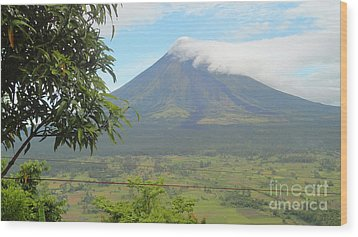 The Quite Mayon Wood Print by Manuel Cadag