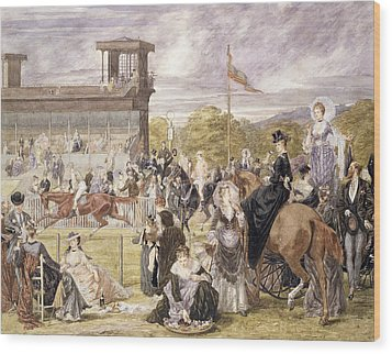 The Races At Longchamp In 1874 Wood Print by Pierre Gavarni