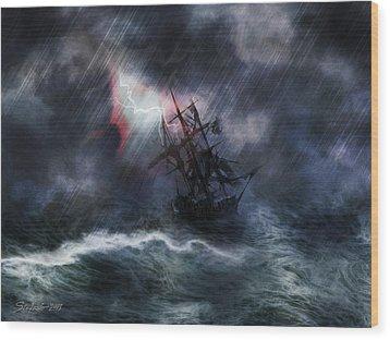 The Rage Of Poseidon II Wood Print