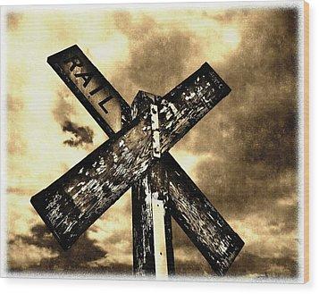 The Railroad Crossing Wood Print
