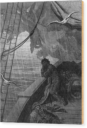 The Rain Begins To Fall Wood Print by Gustave Dore