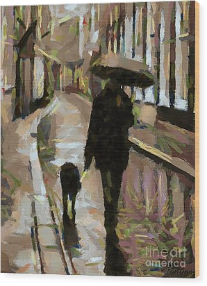 The Rainy Walk Wood Print