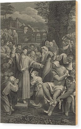 The Raising Of Lazarus 1886 Engraving Wood Print by Antique Engravings