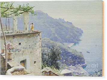 The Ravello Coastline Wood Print by Peder Monsted