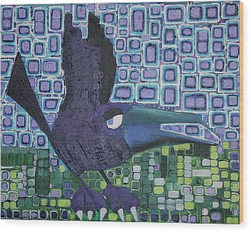 Wood Print featuring the painting The Raven by Donna Howard