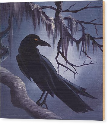 The Raven Wood Print by James Christopher Hill
