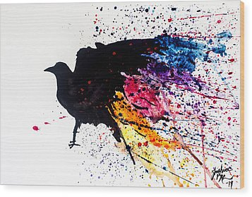 Wood Print featuring the painting The Raven by Joshua Minso
