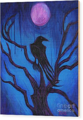 The Raven Nevermore Wood Print by Roz Abellera Art