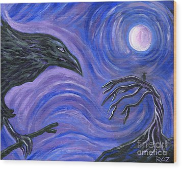 Wood Print featuring the painting The Raven by Roz Abellera Art