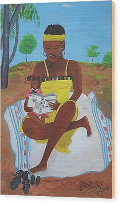 Wood Print featuring the painting The Reading Lesson by Nicole Jean-Louis