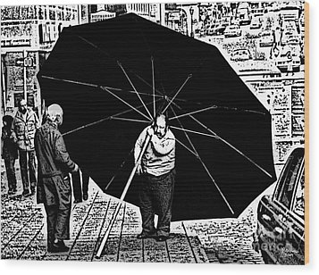 The Really Big Umbrella Wood Print by Jeff Breiman