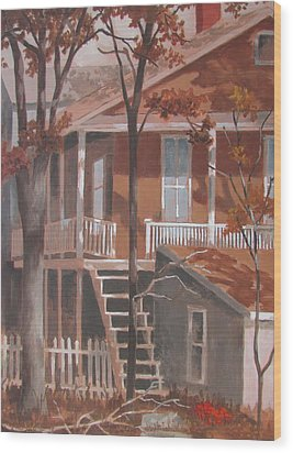 Wood Print featuring the painting The Rear End by Tony Caviston