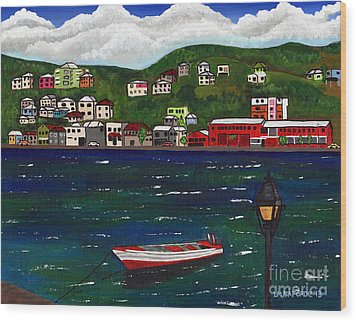 The Red And White Fishing Boat Carenage Grenada Wood Print
