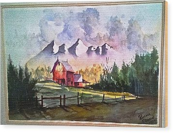 The Red Barn Angry Sky Sold Wood Print by Richard Benson