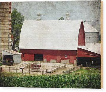 The Red Barn Wood Print by Cassie Peters