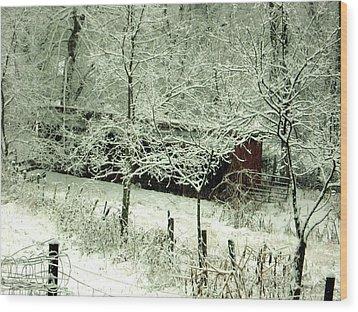 The Red Barn Wood Print by Mimi Saint DAgneaux
