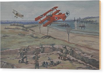 Wood Print featuring the painting The Red Baron's Last Combat by Murray McLeod