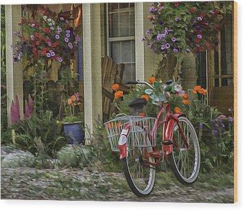 The Red Bike Wood Print