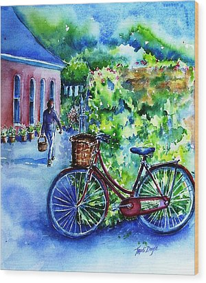 Wood Print featuring the painting The Red Bike  by Trudi Doyle
