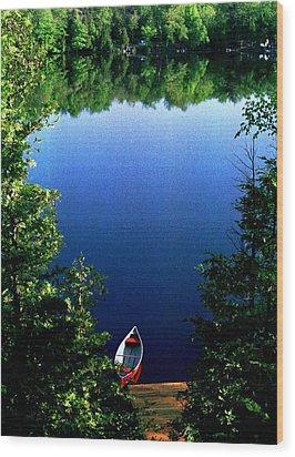 The Red Canoe Wood Print