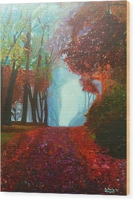 Wood Print featuring the painting The Red Cathedral - A Journey Of Peace And Serenity by Belinda Low