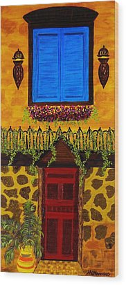 Wood Print featuring the painting The Red Door by Celeste Manning