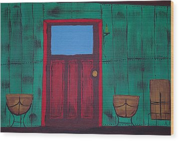 The Red Door Wood Print by Keith Nichols