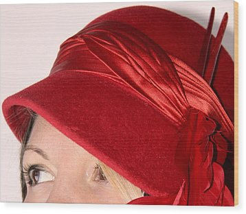 The Red Hat Wood Print by  Andrea Lazar