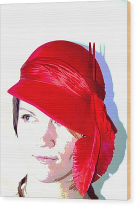 The Red Hat II Wood Print by  Andrea Lazar