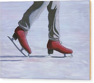 The Red Ice Skates Wood Print