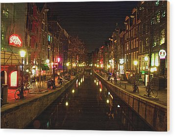 The Red Lights Of Amsterdam Wood Print