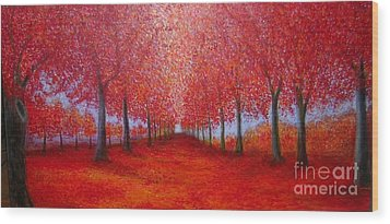 The Red Maples Alley Wood Print