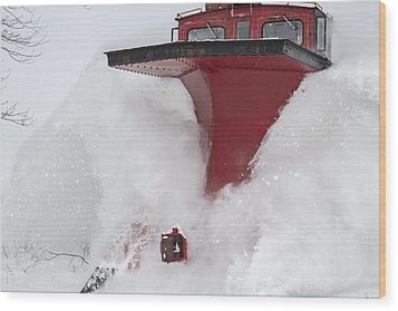 The Red Monster-railway Plow Wood Print