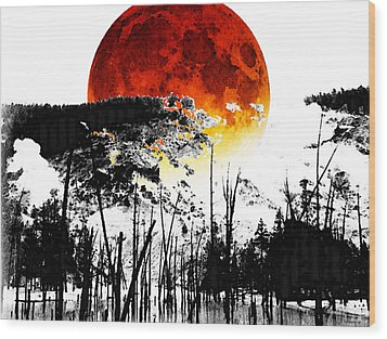 The Red Moon - Landscape Art By Sharon Cummings Wood Print by Sharon Cummings