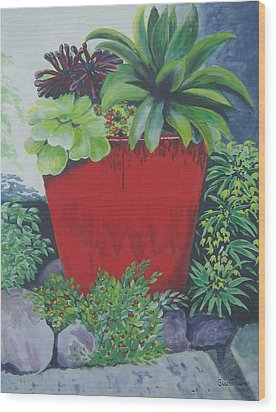 Wood Print featuring the painting The Red Pot by Suzanne Theis