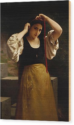 The Red Ribbon Wood Print by William Adolphe Bouguereau