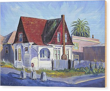 Wood Print featuring the painting The Red Roof House by Asha Carolyn Young