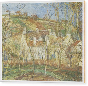 The Red Roofs Corner Of A Village Winter Wood Print by Camille Pissarro