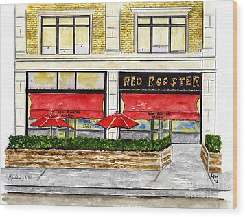 The Red Rooster Wood Print
