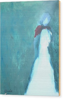 The Red Scarf Wood Print by Andrea Friedell