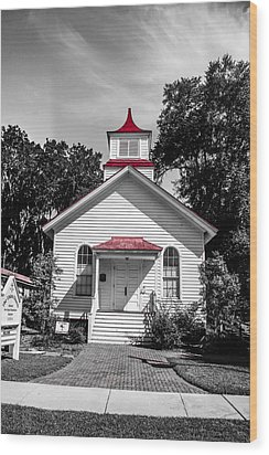 The Red Steeple Wood Print by Steven  Taylor