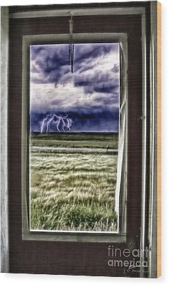 Wood Print featuring the photograph The Red Storm Door by Brad Allen Fine Art
